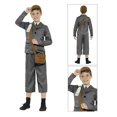 Smiffys Kids WW2 Evacuee Boy Costume World Book Week Fancy Dress Childs Outfit