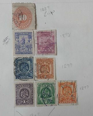 Mexico Early Collection Of Stamps On Album Pages. 49 Stamps.