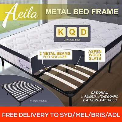 NEW Double Queen King Size Metal Bed Base Frame with Timber Slat Support Black