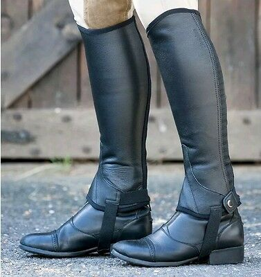 -1%1 Dublin Flexi Leather Half Chaps ls Brown riding horse racing stable