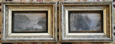 A Pair of Beautiful Gilt frames with Hand Coloured Bay Scene Engravings C1840.