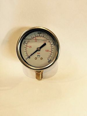 Water Pressure Gauges 60mm Glycerin Filled Stainless steel Case