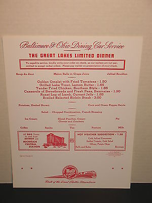 Baltimore & Ohio Railroad The Great Lakes Limited Dinner Dining Car Menu