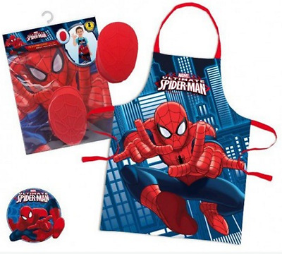 Childrens Boys Spiderman 2 Piece Cook Baking Gift Chef Set Apron & Baking Mould