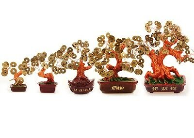 1 PC Golden Copper Coin Tree Lucky Chinese Feng Shui Ornament Good Fortune Gift