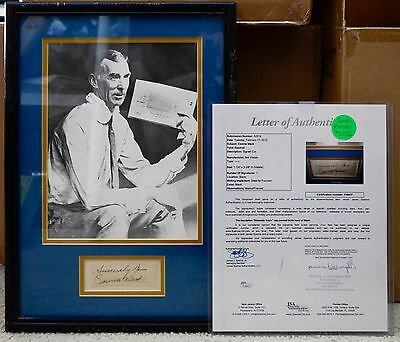 """Connie Mack Framed Matted Bw 8X10 Photo W/ Cut Signature Auto Jsa Loa """"sincerely"""