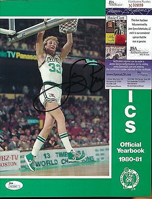 Larry Bird Signed 1980-81 Celtics Official Yearbook Jsa Coa Auto Autograph Ph159