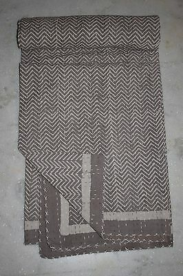 Hand Block Printed Kantha Quilt Patchwork Bedspread TWIN Size Cotton 010