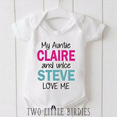 My Auntie and Uncle Love me Personalised your names Baby Grow Vest Body Suit