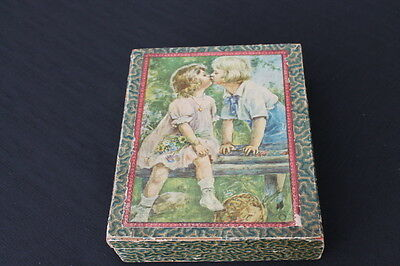 vintage Victorian stationery box children playing Made in Germany