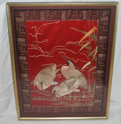 Oriental Chinese Embroidery Silk Tapestry Wading Cranes Birds