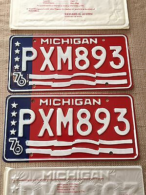 New NOS Unused Pair 1976 Bicentennial State Of Michigan License Plates PXM 893
