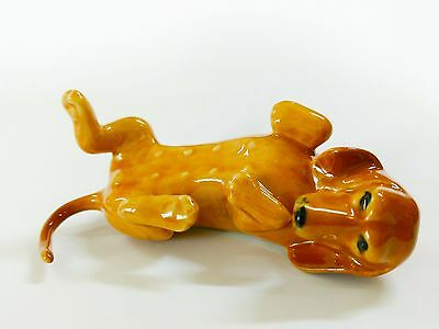 Miniatures Collectible Ceramic Lying Brown Dachshund Dog  FIGURINE