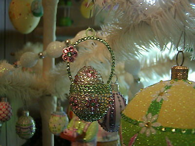 Patricia Breen Jeweled Pink Easter Basket & Jeweled Egg