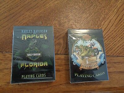 Harley Davidson 2 Decks of Playing Cards NAPLES & FORT MYERS Florida SEALED NEW