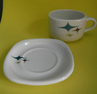 SYRACUSE CHINA / Jubilee / Cup & Saucer / Mid-century Atomic