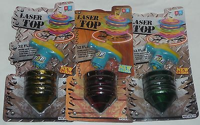 Set of 3 SPINNING TOPS - NEW LASER Yellow/Green/Red FUN KIDS TOY for CHRISTMAS C
