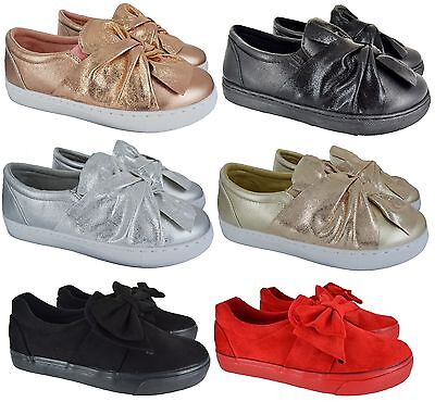 Ladies Womens Slip On Flat Loafer Bow Sneakers Pumps Trainers Shoes Size 3-8 New