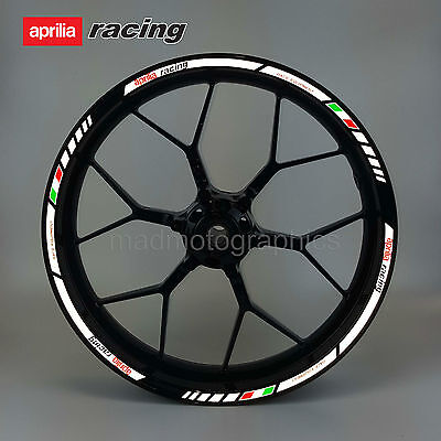 aprilia Racing reflective motorcycle wheel decals rim stickers stripes RSV tuono