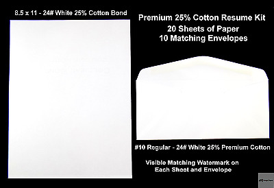 Resume Kit  24# 25% Cotton Premium Stationary Paper and Envelopes Matching Stock