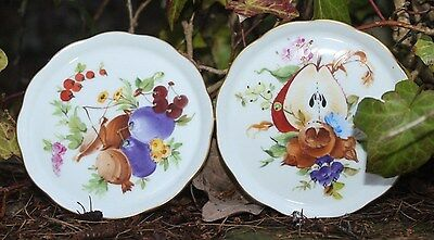 Pair of Herend Hungary handpainted porcelain dishes