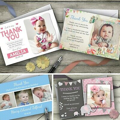 Personalised Christening Birthday Photo Thank You Cards Boy Girl New Baby Kids