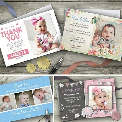 Personalised Photo Thank You Cards / Birthday Christening
