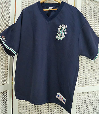 Vintage Seattle Mariners Baseball Warm-Up Pullover Shirt Jersey Majestic XL