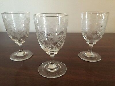 MAGNIFICENT VINTAGE CRYSTAL ETCHED LIQUOR / CHERRY WINE GLASSES Set of 3