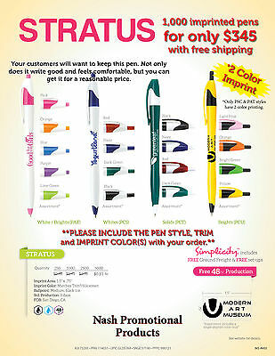 Promotional Ink Pens 1,000 with a 2 color Custom Imprint for Less