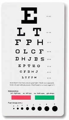NEW Prestige Medical 3909 Snellen Pocket Eye Chart, Free Shipping