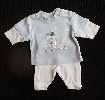 Baby clothes BOY premature/tiny<7.5lb/3.4kg outfit soft trousers/blue animal top