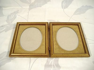 Carr Double Oval Picture Frame Vintage Hinged Gilt Wood & Metal Brass Mat