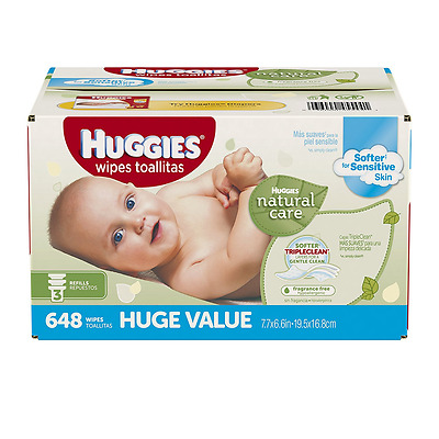 Huggies Natural Care Baby Wipes, Refill, 648 ct, Fragrance Free, Hypoallergenic