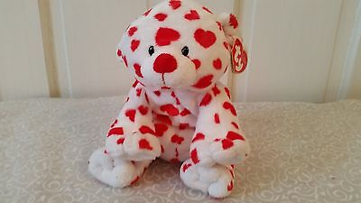 2007Ty Pluffies DREAMSY White Red Hearts Bear Baby Toy Plush Stuffed Animal