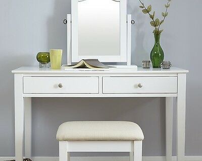 HATTIE DRESSING TABLE + mirror + stool set vanity unit wood white ...