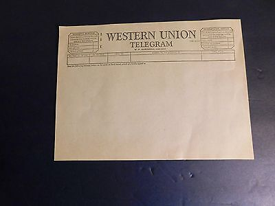 Vintage Western Union Blank Telegram Form dated 1954 - New Old Stock - FREE SHIP