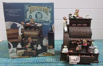 """ADORABLE Enesco Musical Society We're in the Money Mice on Cash Register 8"""" X 6"""""""