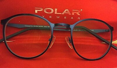 Excel Authentic Polar Rx Eyeglasses Shiny Blue Large Round Frame, With Case