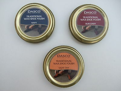 DASCO TRADITIONAL WAX SHOE POLISH for Smooth Leather Various colours 50ml tin