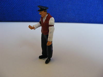 Station Porter Looking at Watch - 1:43/O Gauge Painted Metal Model