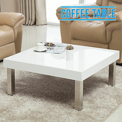 Modern Design Square High Gloss Coffee Table Side Table Living Room White