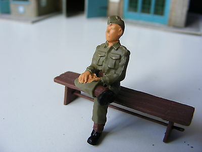 Seated Soldier with Legs Crossed - 1:43/O Gauge Painted Metal Model