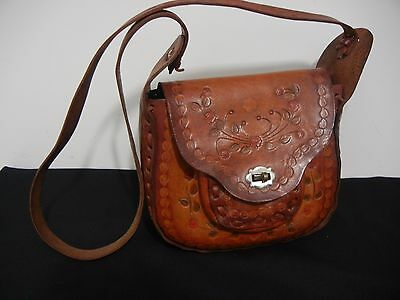 Vintage Leather Purse Bag Mexican Hand Tooled Western Stitch Hippy Boho 1960/70