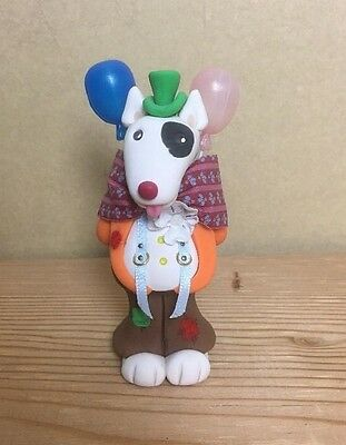 Cecile Signed Clay Hand Painted Bull Terrier Clown Dog With 2 balloons Figurine