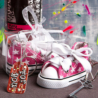 60 Oh-so-cute Pink Star Baby Girl Sneaker Key Chain Shower Favor