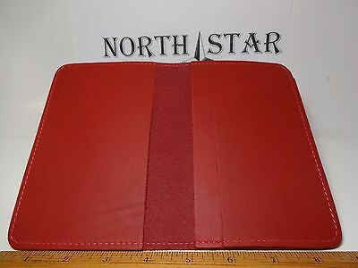 North Star Red Top Stub Leather Checkbook Cover-Fact.Second-Made In USA#131