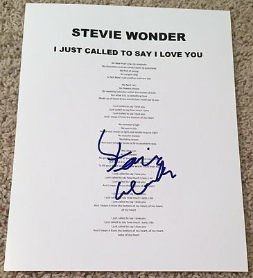 STEVIE WONDER SIGNED AUTO I JUST CALLED TO SAY I LOVE YOU LYRIC SHEET w/PROOF