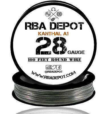 28 Gauge AWG Premium Kanthal Wire Alloy A1 Resistance Wire Roll 100 ft (Black)
