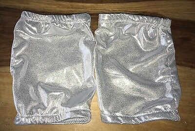 Pro Wrestling Gear KNEE PAD COVERS Silver Sparkly Glitter Lycra Spandex